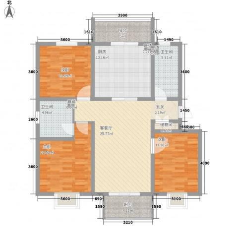 仙景山庄3室1厅2卫1厨135.00㎡户型图