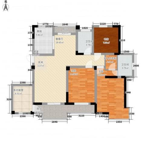 金都名苑3室1厅2卫1厨144.00㎡户型图