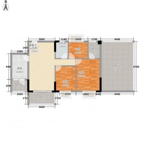 翰林名苑3室1厅1卫1厨99.57㎡户型图