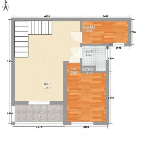 国信御湖公馆1室1厅1卫0厨65.00㎡户型图