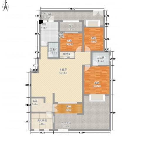 自在山居3室1厅2卫1厨159.24㎡户型图