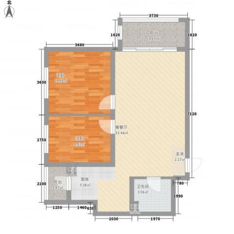 海富金棕榈2室1厅1卫0厨64.55㎡户型图
