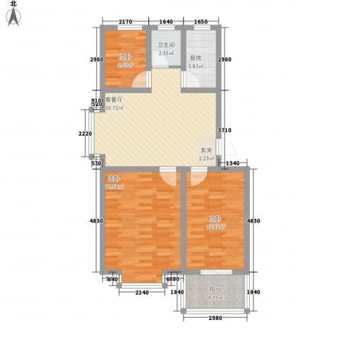 西城国际3室1厅1卫1厨66.71㎡户型图