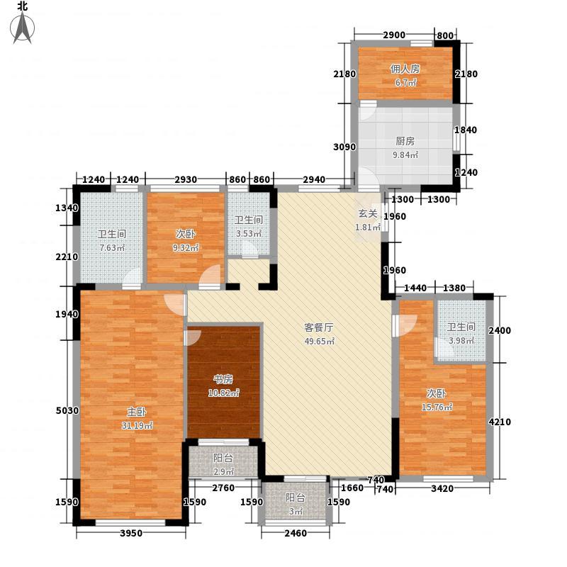 名门紫园243.70㎡32号楼西单元3-11层01户型6室2厅4卫1厨