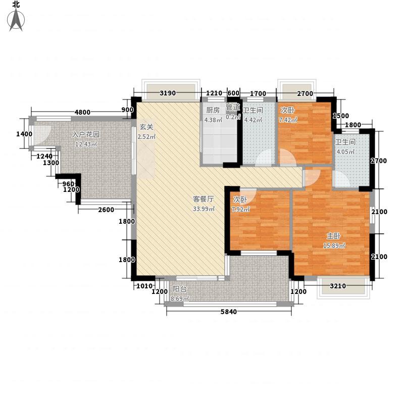 宏益公馆121.72㎡1期四批单位6栋标准层户型3室2厅2卫