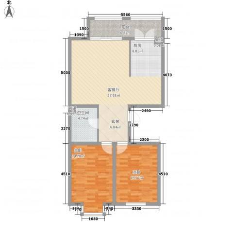 海富金棕榈2室1厅1卫0厨76.73㎡户型图
