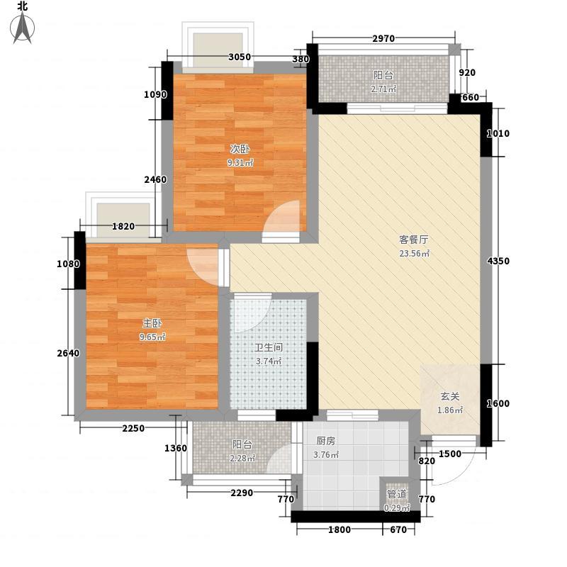 海尔海语江山77.00㎡户型2室