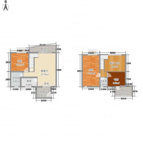 十里江南3室1厅2卫1厨140.00㎡户型图