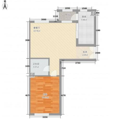 柏林四季1室1厅1卫1厨54.00㎡户型图