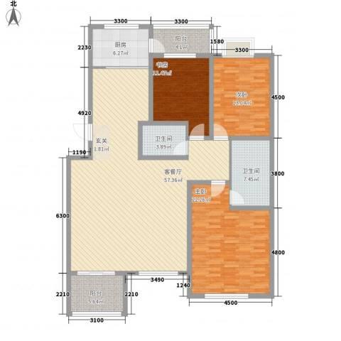 教育出版社家属楼3室1厅2卫1厨185.00㎡户型图
