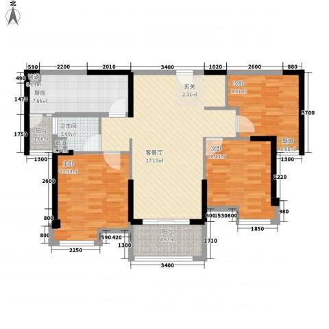 海伦印象3室1厅1卫1厨75.82㎡户型图