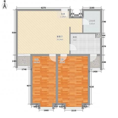 上奥世纪中心2室1厅1卫1厨104.00㎡户型图