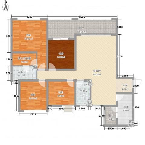 龙湖观山水4室1厅2卫1厨145.00㎡户型图