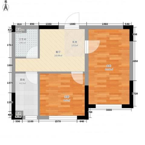 华东路2室1厅1卫1厨57.00㎡户型图
