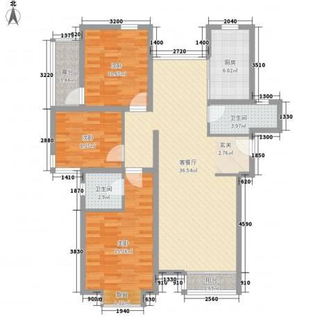 金北花园3室1厅2卫1厨127.00㎡户型图