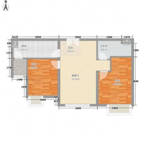 太原富力现代广场2室1厅1卫1厨84.00㎡户型图