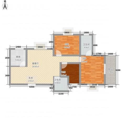 海�国际3室1厅2卫1厨76.88㎡户型图