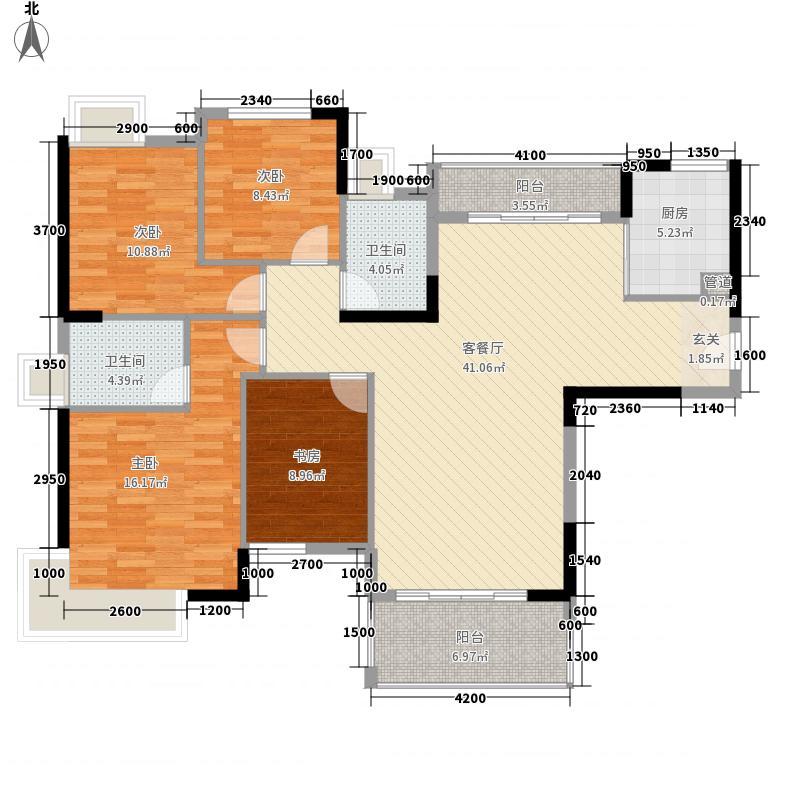 万城4室1厅2卫1厨142.00㎡户型图