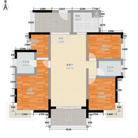 凯旋国际3室1厅2卫1厨148.00㎡户型图
