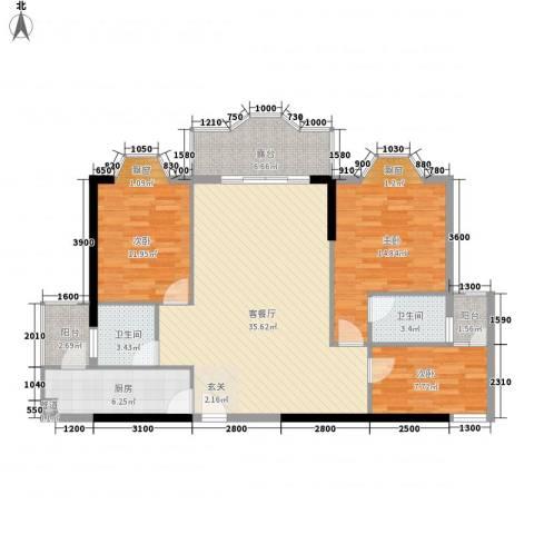 汇景中央3室1厅2卫1厨117.00㎡户型图