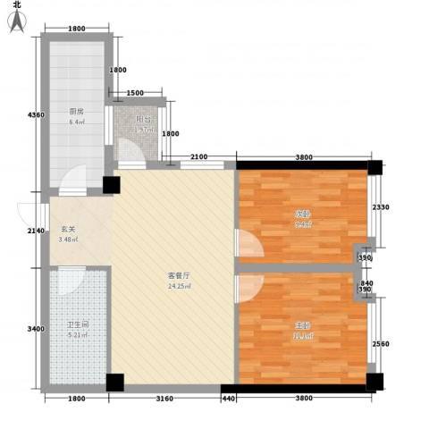 海�国际2室1厅1卫1厨58.34㎡户型图