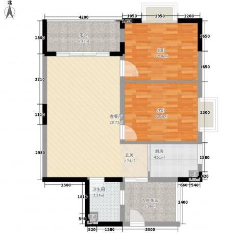 金山湖景大厦2室1厅1卫1厨105.00㎡户型图