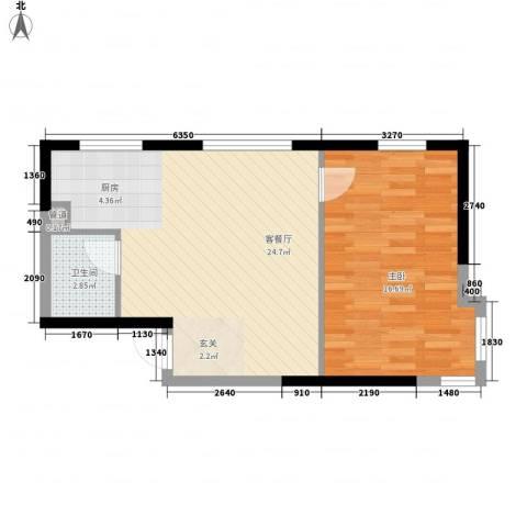 华东路1室1厅1卫0厨62.00㎡户型图