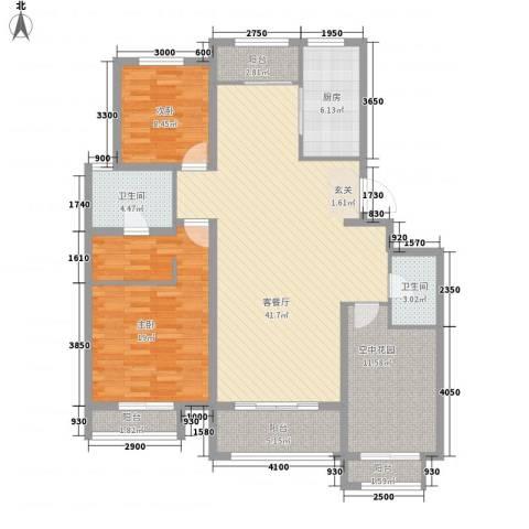世纪御庭2室1厅2卫1厨151.00㎡户型图