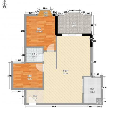 汇景中央2室1厅1卫1厨78.00㎡户型图