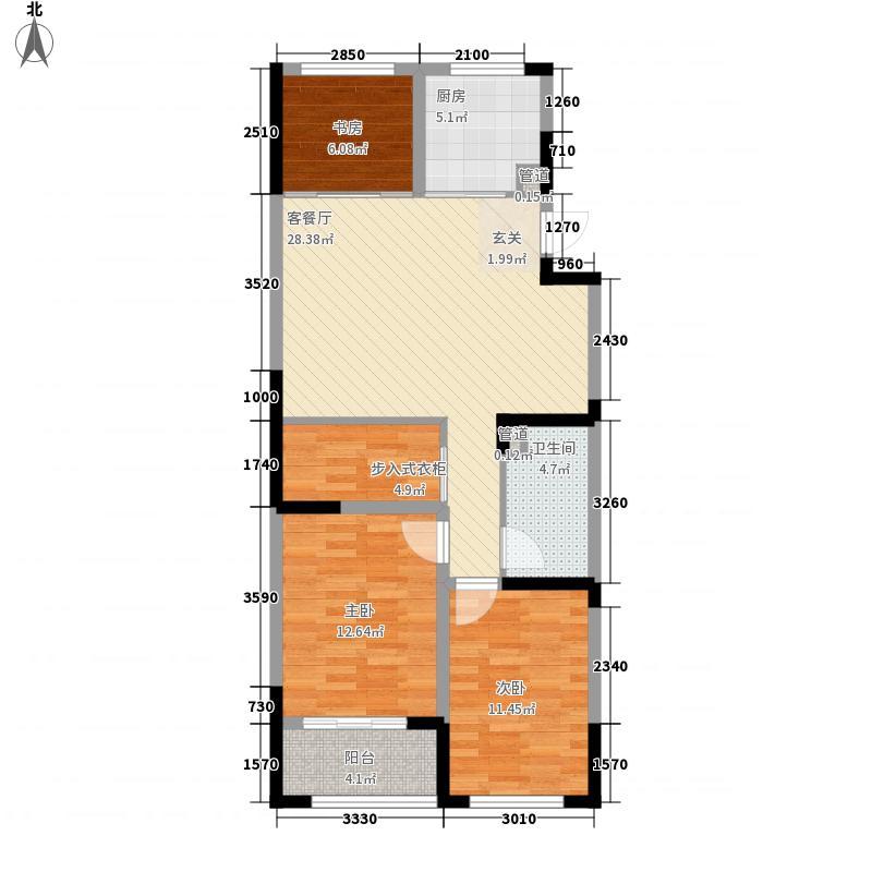 山水美地3室1厅1卫1厨112.00㎡户型图