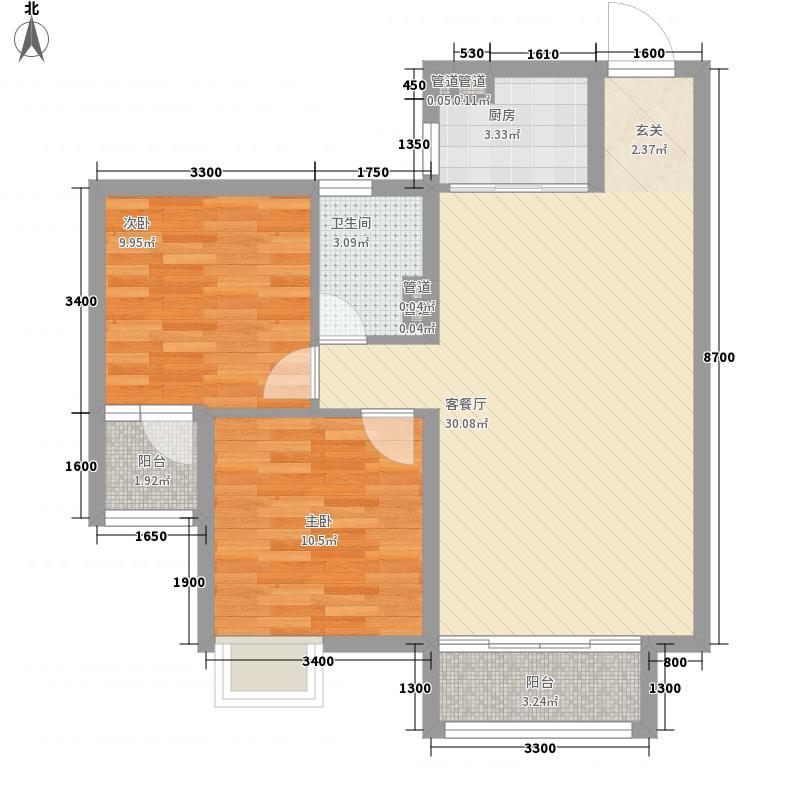 沈铁・达观5.00㎡高层B2户型2室2厅1卫