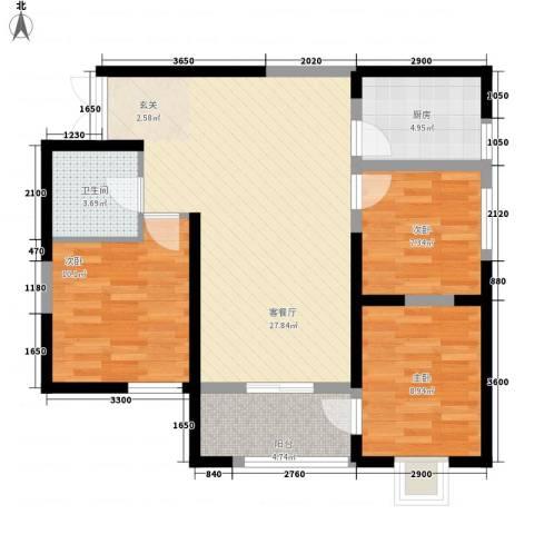 海�国际3室1厅1卫1厨67.59㎡户型图