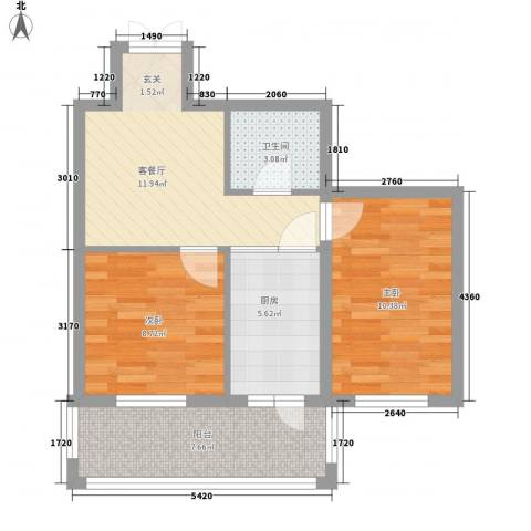 闻达绿都2室1厅1卫1厨47.40㎡户型图