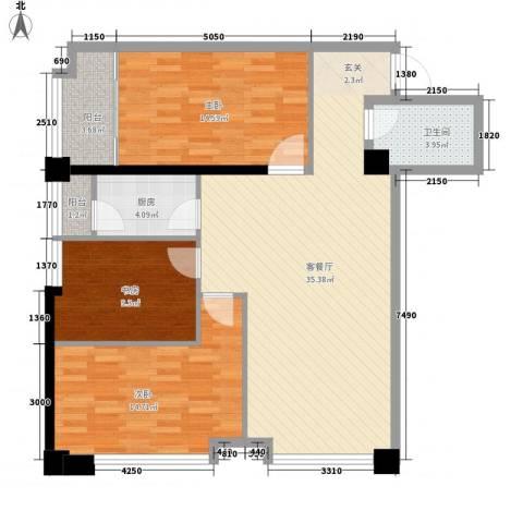 海�国际3室1厅1卫1厨126.00㎡户型图