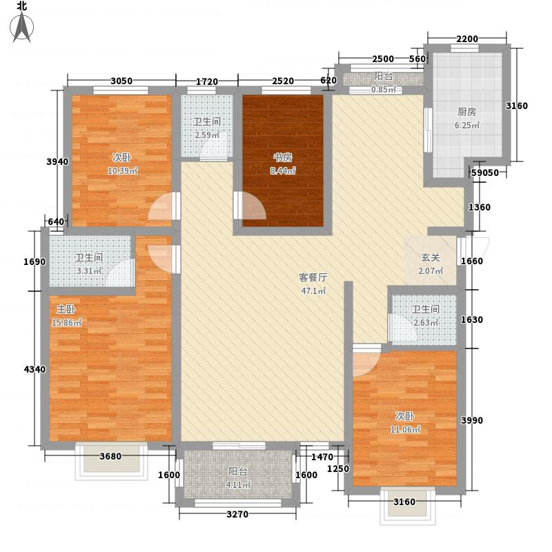 华瑞紫桂苑163.34㎡户型4室2厅3卫