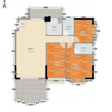 汇景中央3室1厅2卫1厨126.00㎡户型图