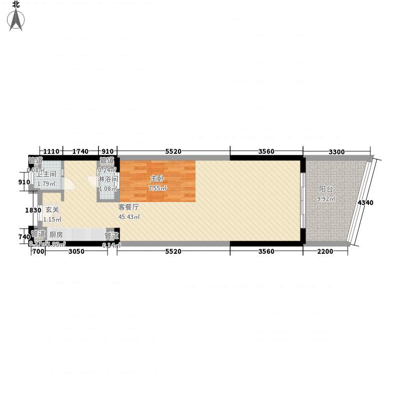 碧桂园十里银滩海景洋房5号楼A2户型1室1厅1卫1厨