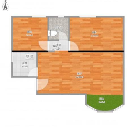 石榴园北里小区2室1厅1卫1厨69.00㎡户型图