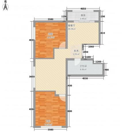 金兴星海国际2室1厅1卫1厨70.74㎡户型图
