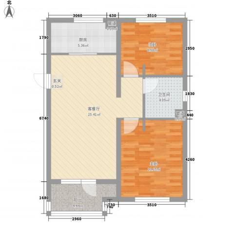 万科魅力之城2室1厅1卫1厨88.00㎡户型图