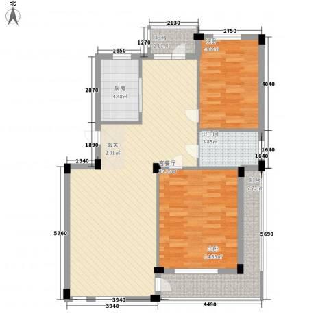 长鹭晶品缘林2室1厅1卫1厨77.74㎡户型图