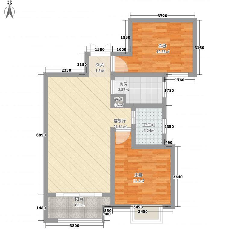 大观国际居住区88.00㎡二期19号楼盘1-27层E2户型2室2厅1卫1厨