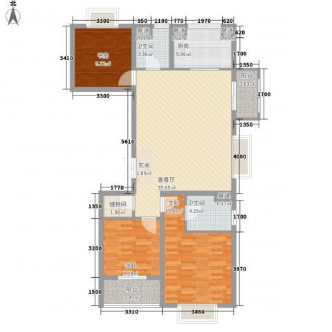 新湖青蓝国际3室1厅2卫1厨134.00㎡户型图