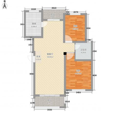 金水湾花园2室1厅1卫1厨105.00㎡户型图