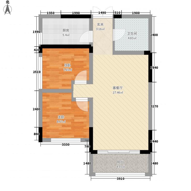维也纳湖畔85.00㎡二期F2户型2室2厅1卫1厨