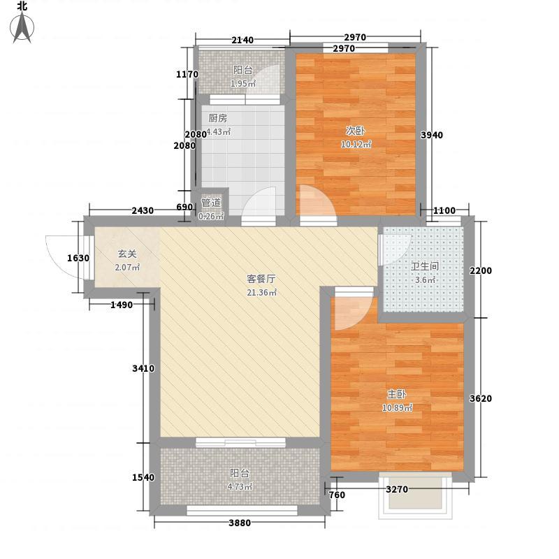 大观国际居住区84.00㎡二期16号楼中单元2-34层B1户型2室1厅1卫1厨