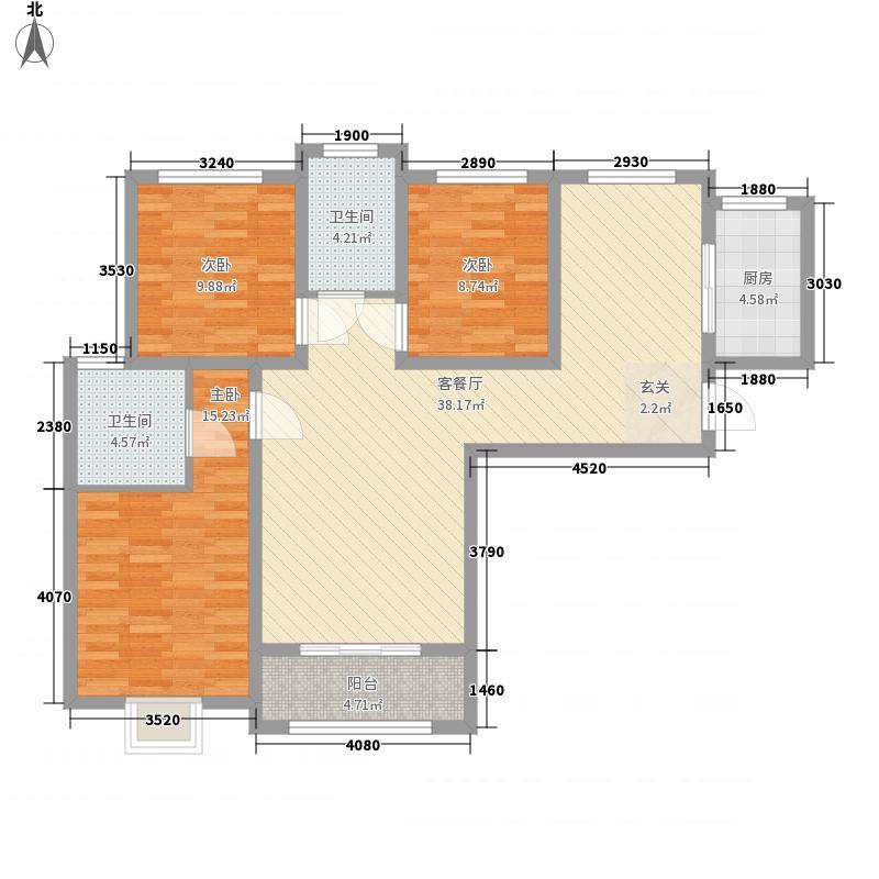 紫境城12.65㎡16、17号楼B户型3室2厅2卫1厨