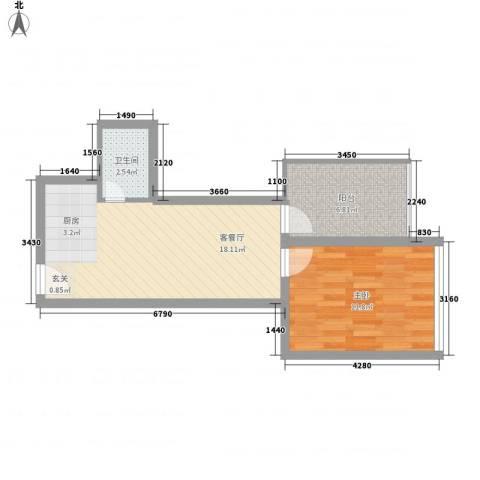 金东国际1室1厅1卫0厨56.00㎡户型图
