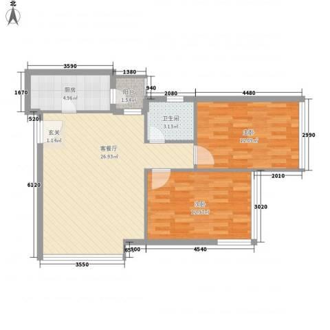金东国际2室1厅1卫1厨85.00㎡户型图