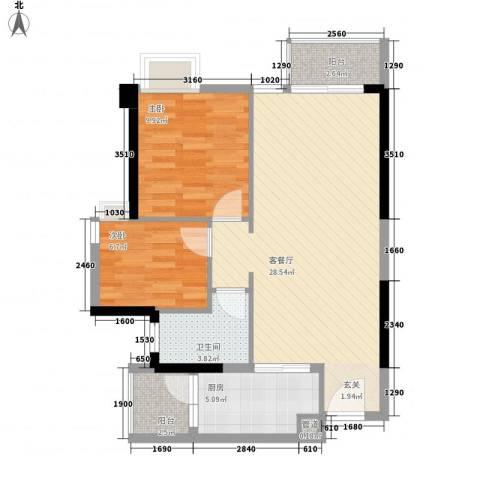 东湖花园七区2室1厅1卫1厨59.42㎡户型图